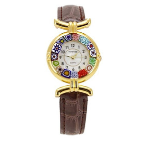 Glassofvenice Murano Glass Millefiori Watch With Leather Ban