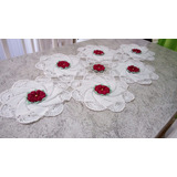 Crochê: Lindo Trilho De Mesa Flores Vermelhas Promoção