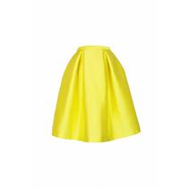 Falda Plisada En Raso, Color A Elegir, Largo 50 Cm