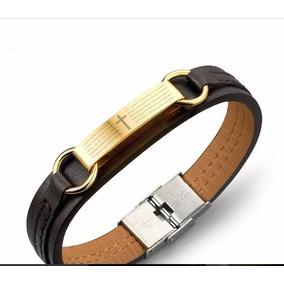 Bracelete Pulseira Masculino. Couro+aço Inoxidável Ouro 18k