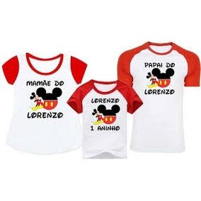 Camiseta Personalizada Aniversario Pai Mae Filho(a) 3un.