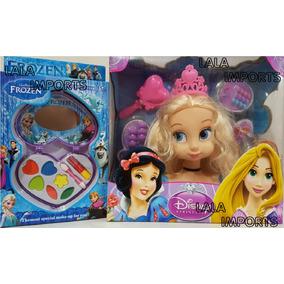 Cabeça Boneca Princesas P Maquiar E Pentear + Kit Maq Frozen