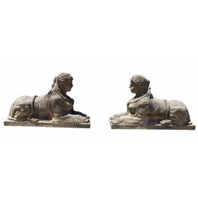 Escultura Esfinge Em Pedra Esculpida