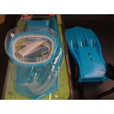 Kit Mergulho Infantil Azul - Nadadeiras, Máscara, Snorkel