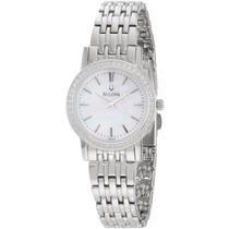96r164 Redonda Del Diamante Del Bisel Reloj Bulova Mujeres