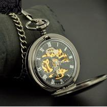 Fino Reloj De Bolsillo Metalico De Cuerda Doble Tapa C Caja