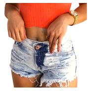 Shorts Jeans Branco Feminino Cós Alto Hot Pants St004