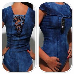 Body Jeans Com Stretch Babado E Trançado Nas Costas Vd