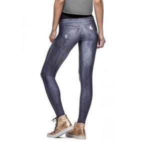 Calça Fitness Feminina Live Legging Jeans Free Spirit Denim