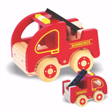 Caminhão Bombeiro Brinquedo Educativo De Madeira Ecológica
