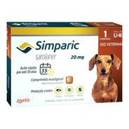 Simparic 20mg 5 A 10kg C/ 1 Comprimidos Mastigáveis - Zoetis