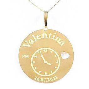 Gargantilha Ouro18k Relógio Nascimento Recém Nascido Bebê