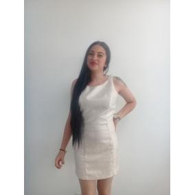 Vestido Tipo Coctel Blanco Y Dorado Talla M En ¡oferta!