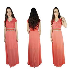 Vestido Moda Evangélico Madrinha 5 Evasê Interno 1056