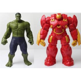 2 Bonecos Vingadores Hulk Vs Hulkbluster C/som 30cm