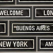 Cuadros Cartel Ciudades Vintage 40x10 - New York Paris Bsas