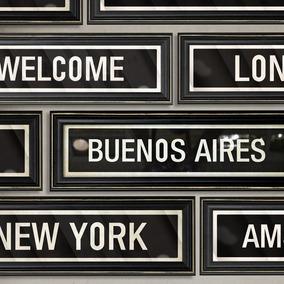 Cuadros Cartel Ciudades Vintage (10x40cm) N.york Paris Bsas
