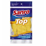 Luva Látex Sanro Top Multiuso Amarela Tamanho M - 10 Pares