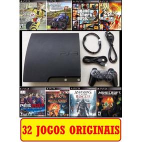 Ps3 Super Slim + Gta 5 Pes Fifa 18 + 40 Jogos + 2 Controles