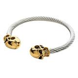 Pulseira Bracelete Em Cobre Banhado A Ouro Caveira Dourada