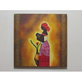 Cuadro Acrílico Mujer Africana - Pintura Decorativa