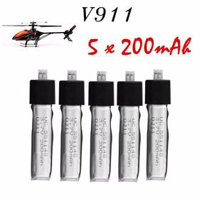 5x Peças Bateria Helicoptero Wltoys V911 200mah Frete Grátis