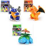 Pokemon Set 3 Figuras Armables Charizard Blastoise Venosaur