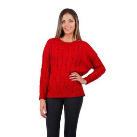 Sweater Manga Larga Tejido Rojo Ac Mare