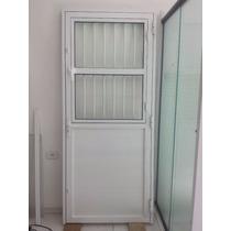 Porta Alumínio Para Sala 210x90 Cor Branca Lambril Liso