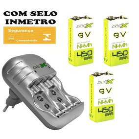 Kit Carregador Flex Com 3 Baterias Recarregaveis 450 9v C03