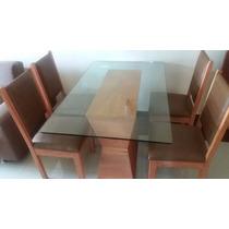 Conjunto Mesa Com 4 Cadeiras Madeira De Demolição