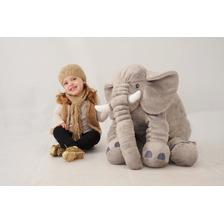 Almofada Travesseiro Elefante Bebê Pelúcia Cinza 80cm