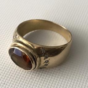 Anel Em Ouro Com Diamantes E Pedra, Aro 21, Peso: 5,9 Gr