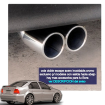 Cola Escape Bora Peugeot Doble Acero Inoxidable Tuningchrome