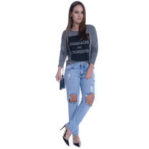 Calça Jeans Boyfriend Destroyed - Kam Bess - Cl0336