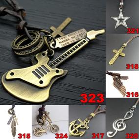 Colar Guitarra Masculino Couro Legitimo Pingente Ajustável