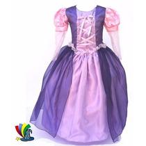 Disfraz Vestido Princesas Rapunzel Merida Bell Niñas Premium