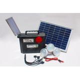 Kit Solar Portátil+panel Solar+3 Focos+batería+radio Con Usb