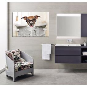 Cuadro Perro Baño Diario Inodoro Trono Dog Funny Pet 40x60cm