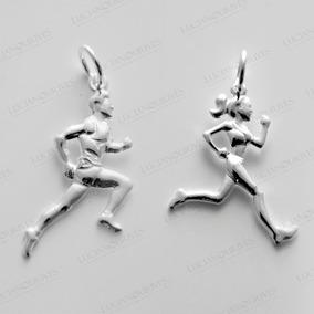 Pingente Corredores Atleta Corredora E Corredor Prata 925