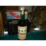 Antigua Botella Cerrada De Licor Seco Tres Cepas Domecq
