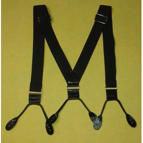 Tirador Pantalón Suspenders V Tiras Ojal Negro Cuero 4cm