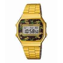 Relógio Casio Camuflado Retro Unissex Classico Dourado Gold