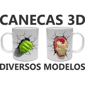 Caneca Efeito 3d Frozen Minions Homem De Ferro Star Wars