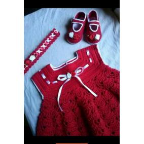 Vestido De Croche Pra Bebe,infantil Kit Com Tiara E Sapato