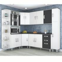Armário De Cozinha Modulada 7 Peças - Branca/preto