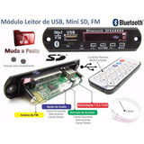Placa P/ Amplificador- Leitor De Usb Mp3 / Fm / Bluetooth
