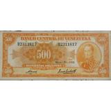 Billete De 500 Bs Canario 1958 Vf
