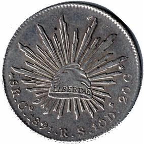 Moneda Mexico Plata Antigua Ocho Reales Go 1891 R.s.10d P2