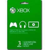 Membresia Xbox Live Gold 3 Meses - Xbox 360 - One